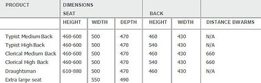 H80S Task Chair Dimensions