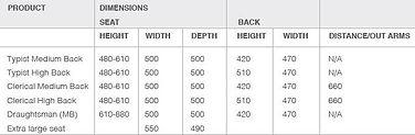 M80 Task Chair Dimensions