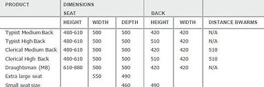 G80 Office Chair Dimensions