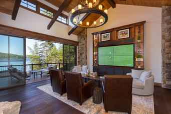 Entertainment Area with Quad Television and Incredible Lake Views