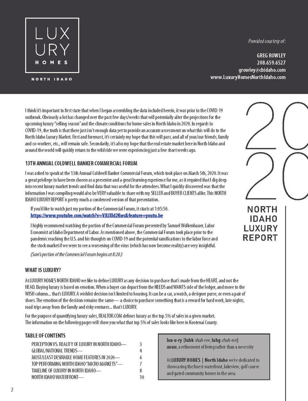 2020 LUXURY MARKET REPORT