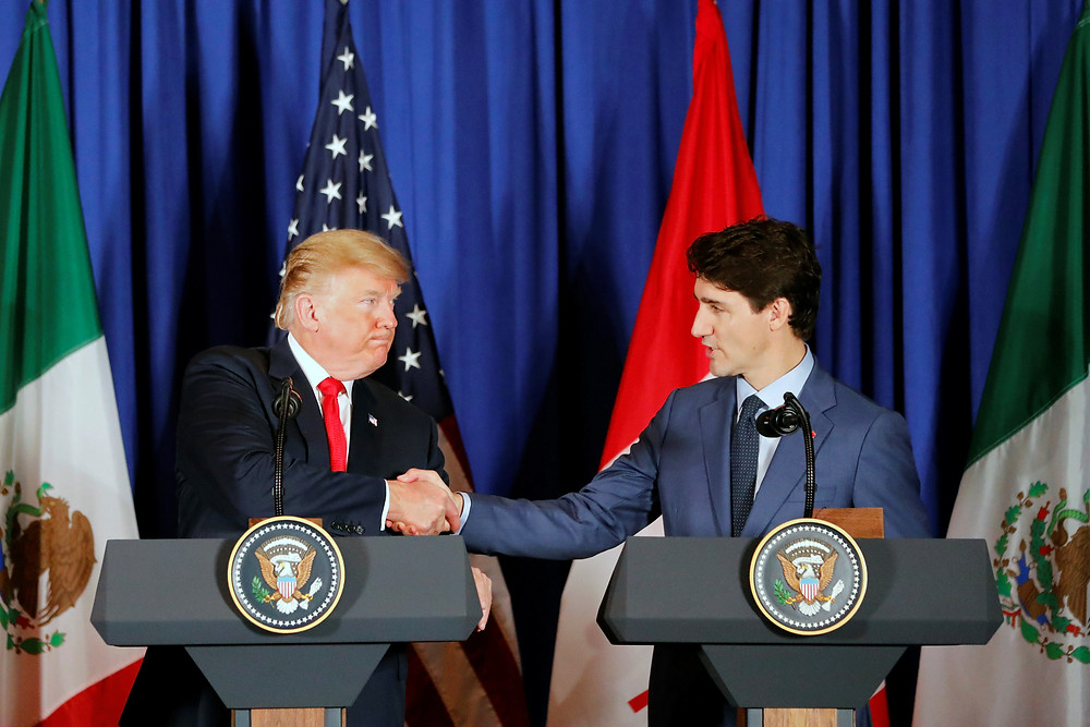 President Donald Trump and Prime Minister Justin Trudeau at USMCA signing.