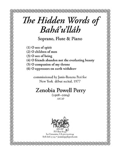 The Hidden Words of Baha'u'llab (1977) by Zenobia Powell Perry