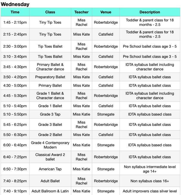 JCSD Autumn Timetable Wednesday 2020