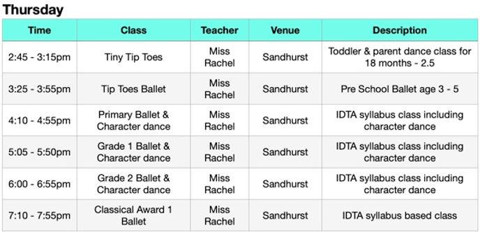JCSD Autumn 2020 timetable