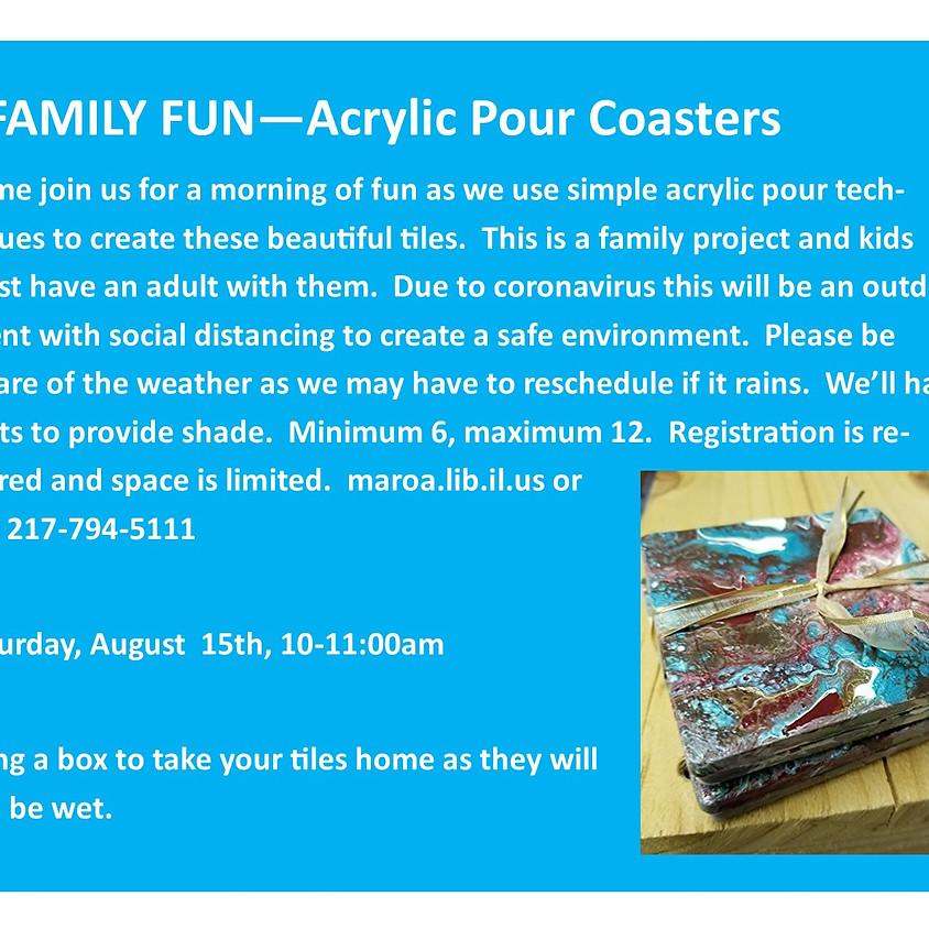 Family Fun!  Acrylic Pour Coasters