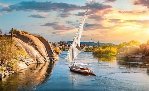 EG_Aswan_Felucca on River Nile at sunset