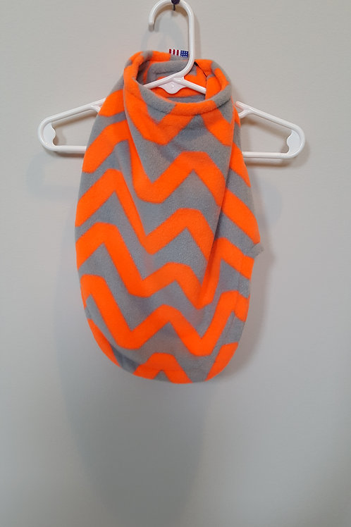 Orange and grey zig zag fleece reversible with same pattern on reverse side.