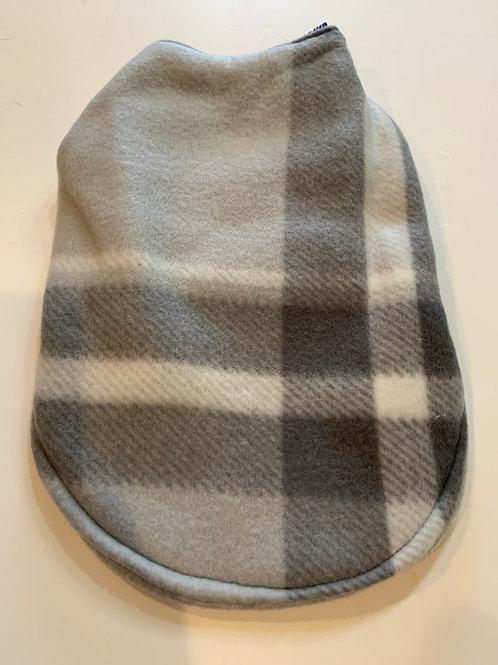 Black/grey plaid reversible fleece