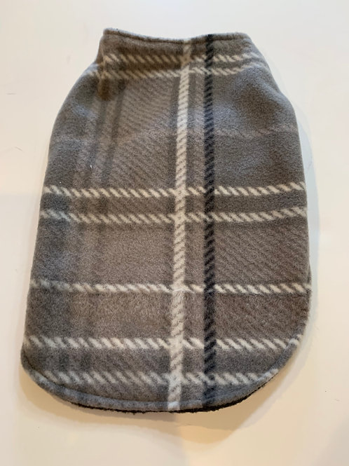 Black/grey plaid reversible fleece