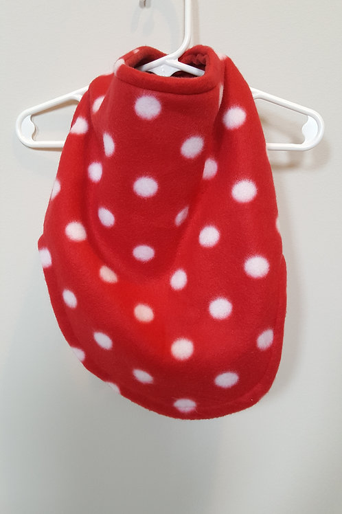 Red reversible fleece white polka dots and plain red on reverse side
