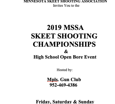 Minnesota State Skeet Tournament August 16,17,18...time to sign up