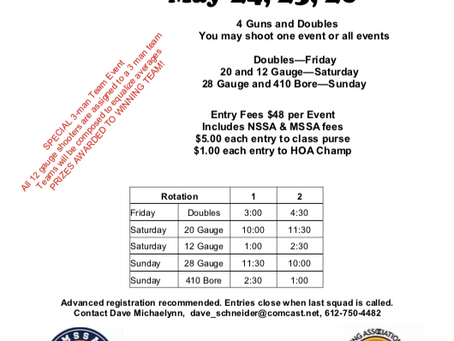 Sign up for the Metro Spring Open       May 24,25,26