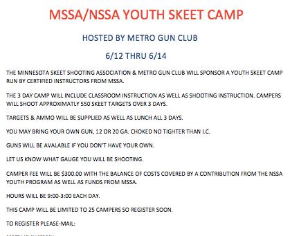2019 Youth Skeet Clinic...June 12-14