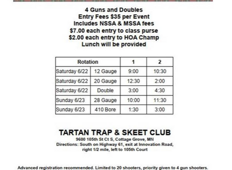 First Annual Tartan Open Skeet Tournament June 22-23