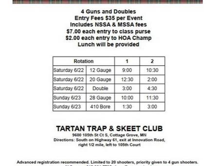 First Annual Tartan Open Skeet Tournament June 22-23