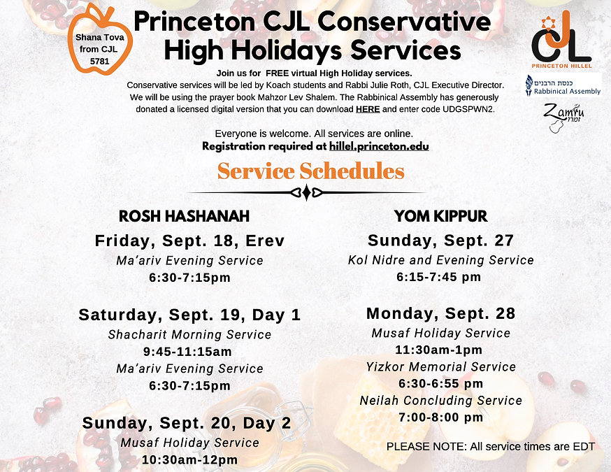 Conservative High Holiday Service Times-