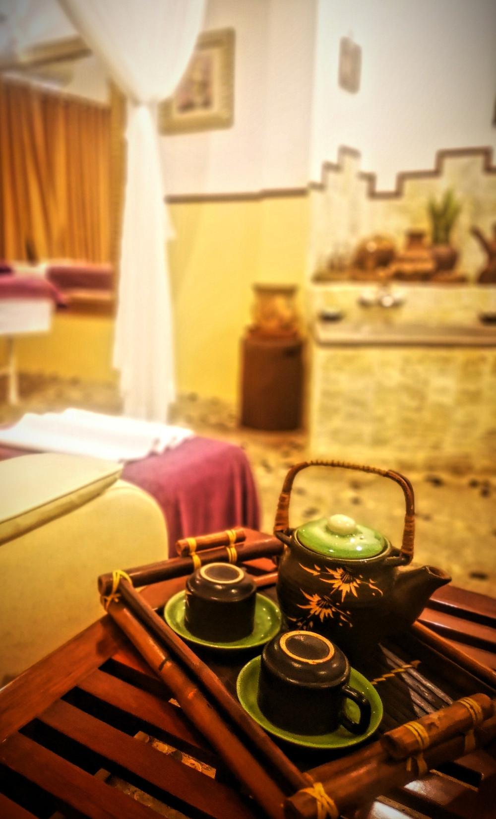 Enjoy spa treatments and refreshing tee in Pandanus Resort, Mui Ne, Vietnam