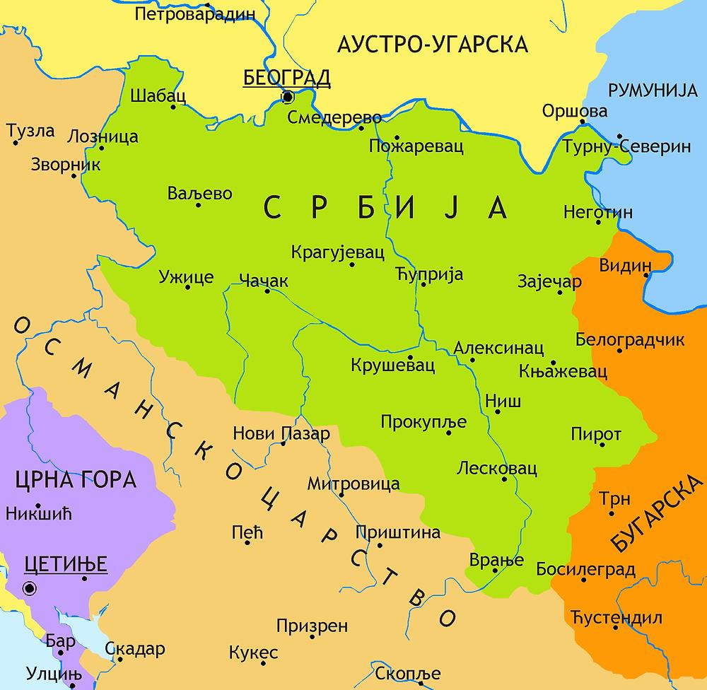 Карта Кнежевине Србије 1878
