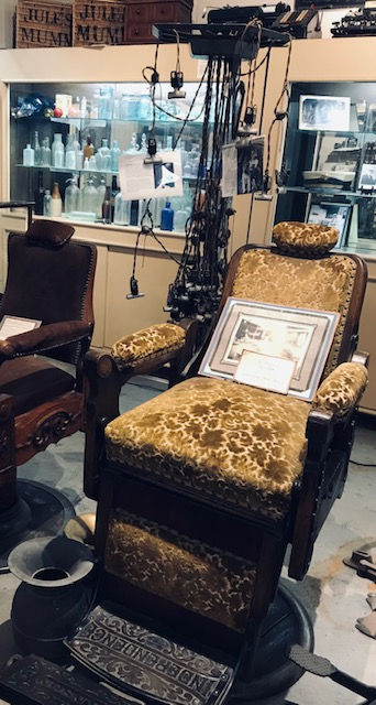 beauty parlor chair and curlers