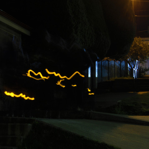 Light trails on streets of Punta Arenas
