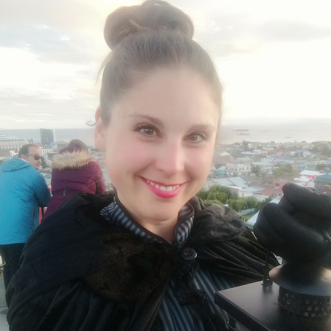 Costumed guide, ready to lead a ghost walk in Punta Arenas, Chile.