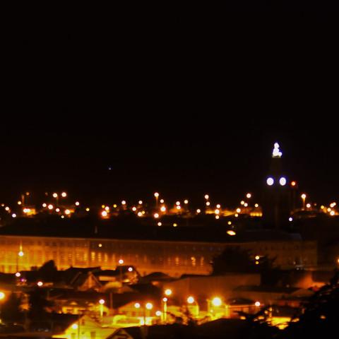 The view from the Mirador Cerro de la Cruz of Punta Arenas, Chile by night