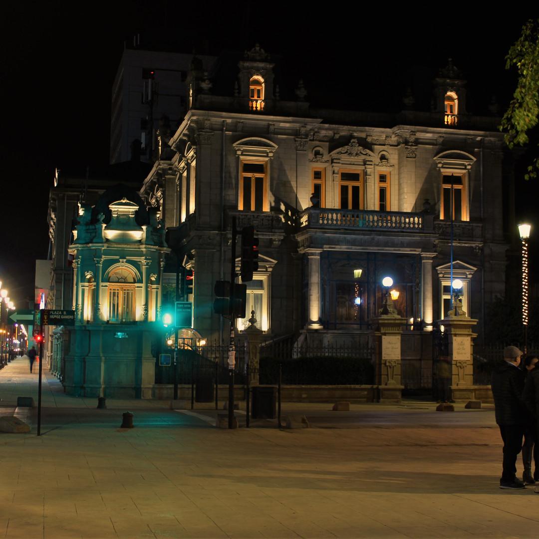 Palaccio Braun - Noguiera (Club de Union) by night in Punta Arenas, Chile