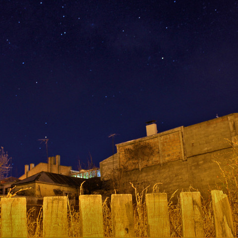A nightime shot of an abandoned lot in Punta Arenas, Chile