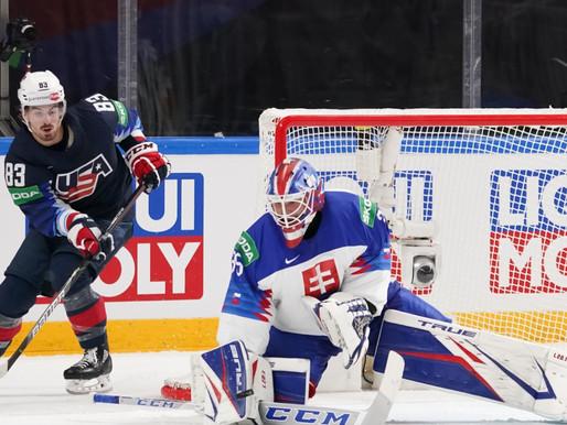 ASV pārbrauc pāri Slovākijai un iekļūst Pasaules čempionāta pusfinālā