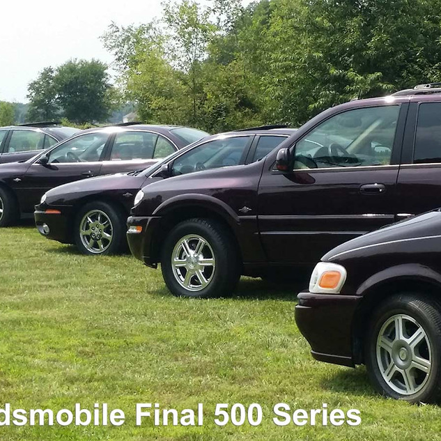 Complete collection: 2004 Bravada, 2004 Silhouette, 2003 Aurora, 2004 Alero, 2002 Intrigue.  When Oldsmobile decided to end production, they phased each of the 5 models out over 3 years. The last 500 cars of each model were painted a special black cherry and badged as a Final 500. Each car has embroidered seats with the olds insignia  and special emblems on the door sills, engine cover, floor mats and wheels.