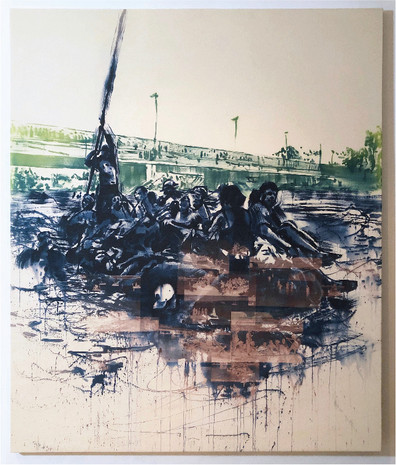 "Seol Park, ""Crowded Waters: Rio Grande"" (November 2018), light sensitive dye on canvas, 64"" x 54"""