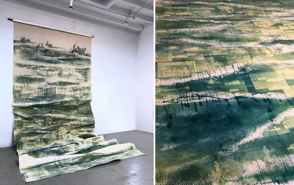 """Seol Park, """"A River of People"""" (January 2019); light sensitive dye on canvas, 84"""" wide; 216"""" high when fully extended"""
