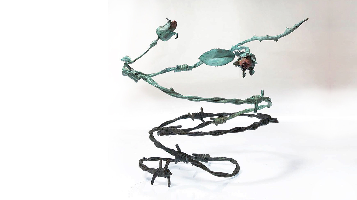 """Becoming (Janurary 2019), patinated bronze, unique, 18x18x20"""""""