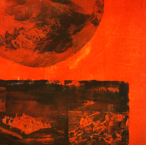 """Seol Park, detail of """"Distress at Sea"""" SOS flag composition, fabric dye on canvas"""