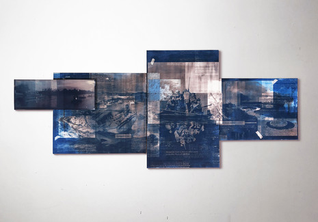 """Seol Park, American Landscape(s), 2019; light sensitive dye, ink, watercolor, acrylic and acrylic polymer on canvas, 30"""" x 71 1/4"""" overall"""