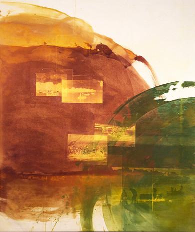 """Seol Park, """"Crossings I,"""" 2018, photogram on canvas, 60""""x50"""""""