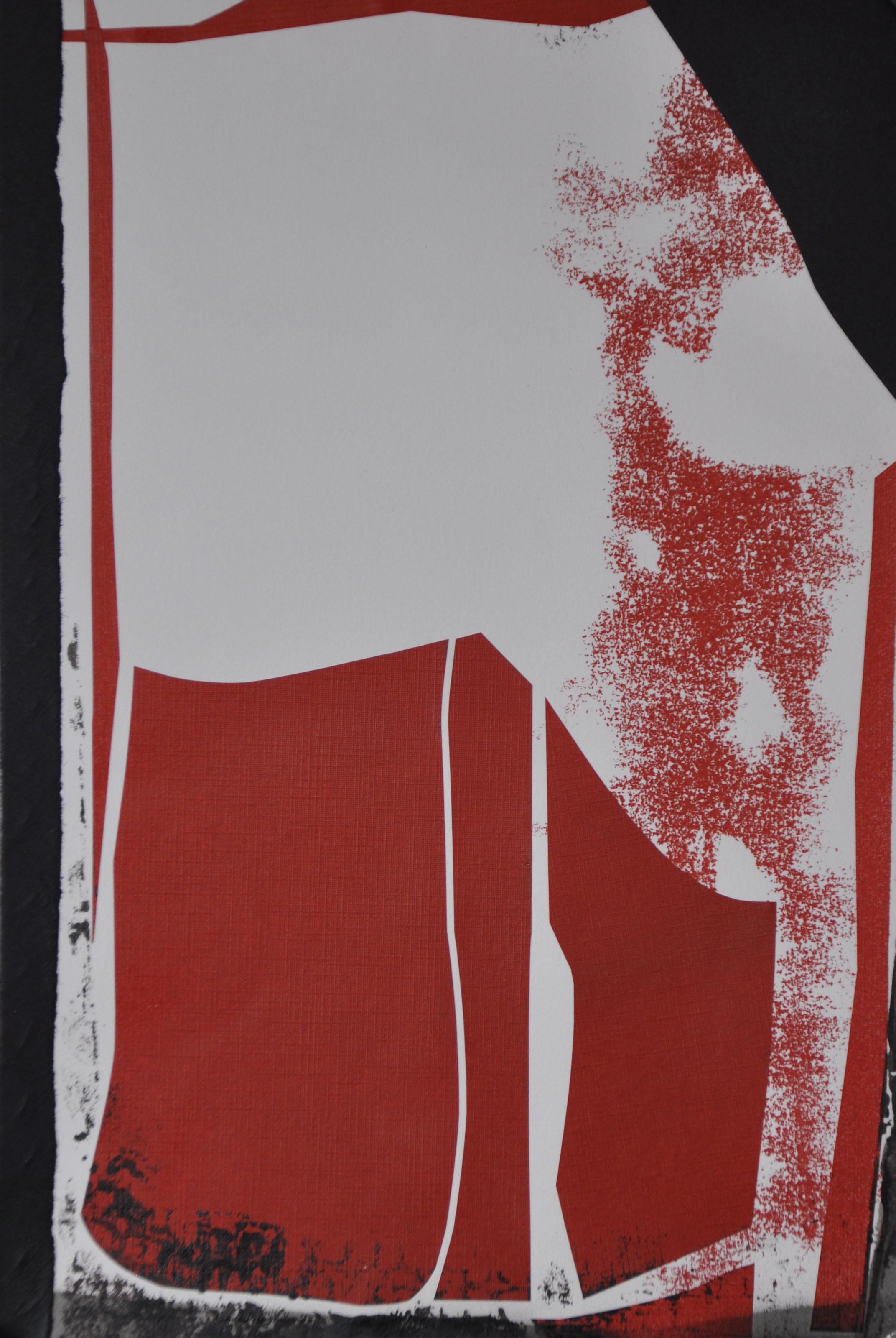 Collage sur papier, acrylique, crayons d