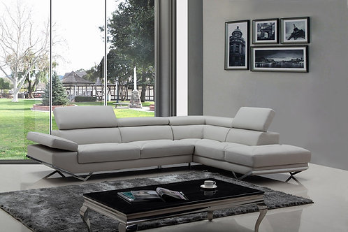 #038 Modern Light or Dark Grey Eco-Leather Sectional Sofa