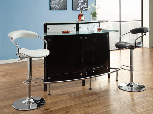Arched Black Bar Table with Frosted Glass Counter Tops