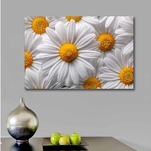 #086 WHITE FLOWERS GLASS WALL ART