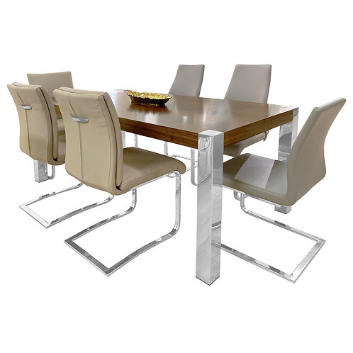 #039 WOOD AND STEEL TABLE SET