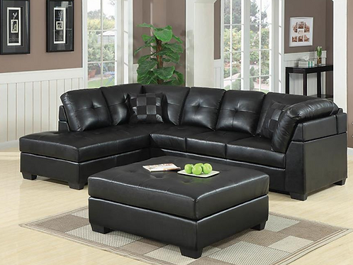 Darie Leather Sectional Sofa with Left-Side Chaise/Darie Leather Cocktail Ottoma