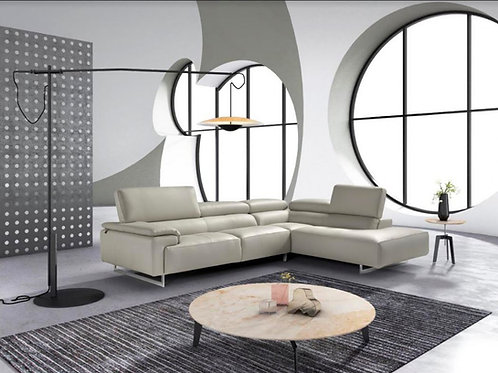 Estro Salotti Wish Modern Grey Leather Sectional Sofa