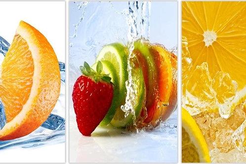 #001 3PC Fruit Slice Glass Wall Art
