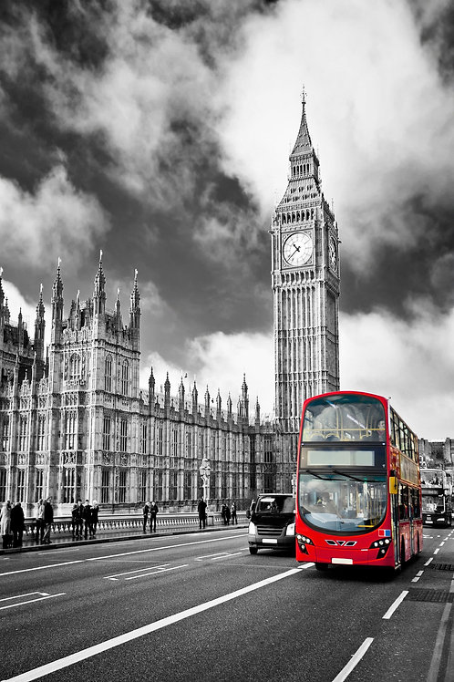 #012 RED LONDON BUS GLASS WALL ART