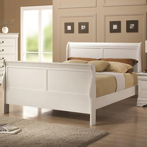 #028 LOUIS PHILIPPE WHITE  & SLEIGH STYLE QUEEN BED