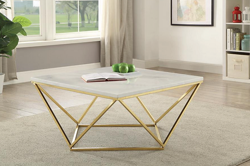WHITE/BRASS COFFEE TABLE