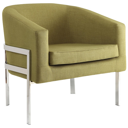 Accent Seating Contemporary Accent Chair in Linen-Like Fabric with Exposed Metal