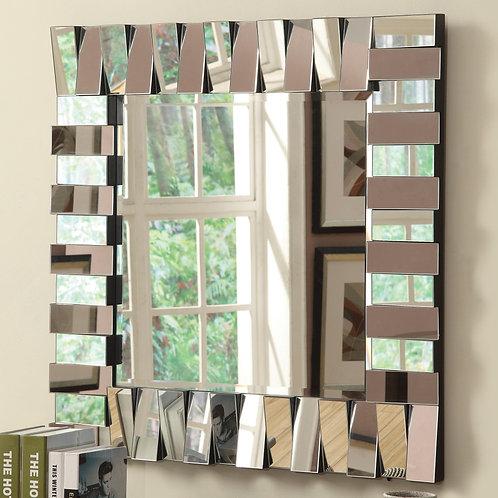 Accent Mirrors Contemporary Square Wall Mirror in Silver Finish